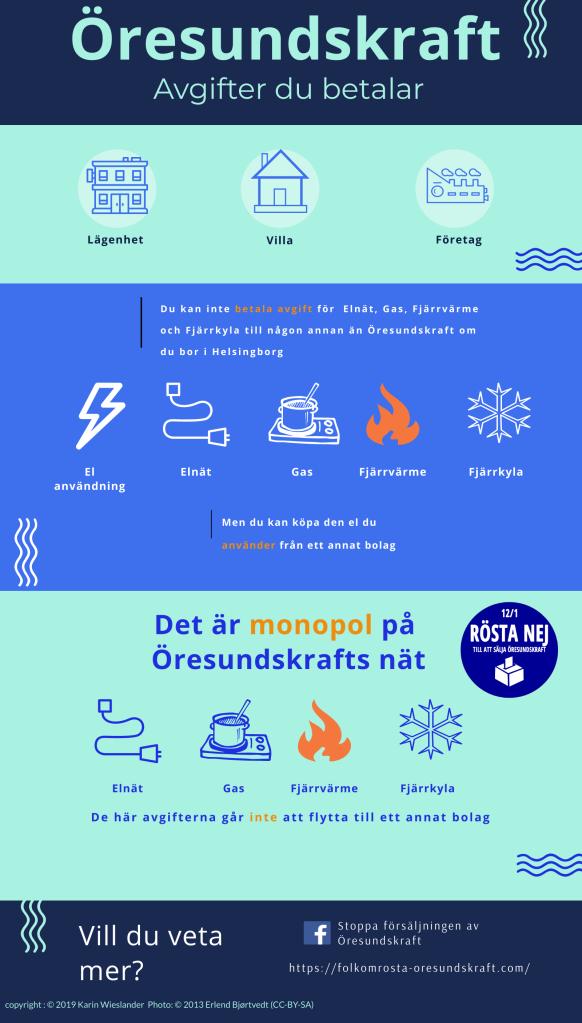Öresundskraft äger Elnät, Gasnät, Fjärrvärmenät och Fjärrkylenät. DU kan byta elleverantör, men inte nätägare, där är det monopol.